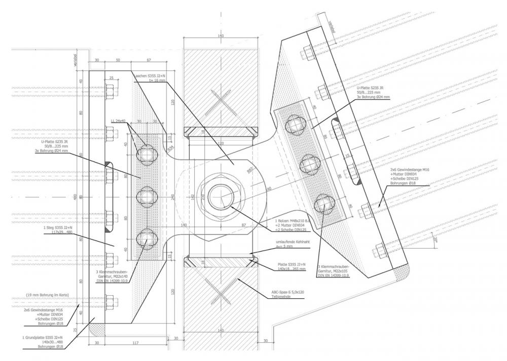 Galer a en detalle estructura de madera micro laminada - Estructuras de madera laminada ...