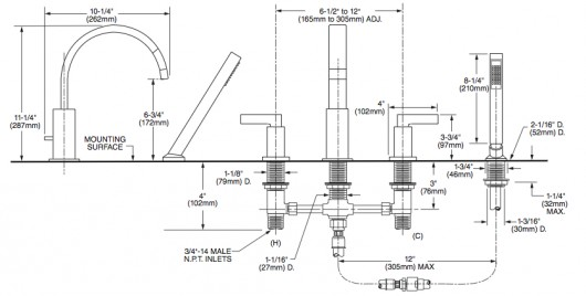 Mezcladora duomando para tina con regadera times square de for Llave mezcladora para tina y regadera